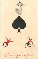 A MERRY CHRISTMAS  ace of spades, three tiny people cavort