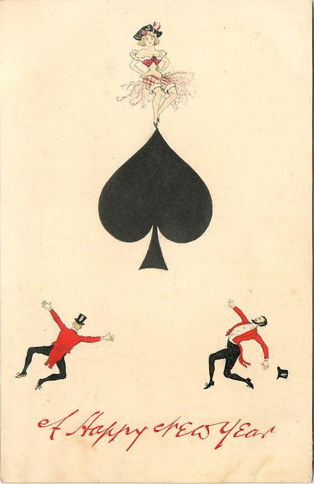 A HAPPY NEW YEAR  ace of spades, three tiny people cavort