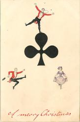 A MERRY CHRISTMAS  ace of clubs, three tiny people cavort