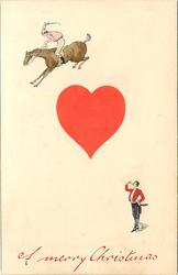 A MERRY CHRISTMAS  ace of hearts, two tiny people cavort, one on horseback