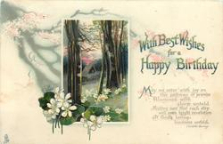 WITH BEST WISHES FOR A HAPPY BIRTHDAY  white violets in wood