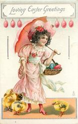LOVING EASTER GREETINGS  girl with parasol carrying basket of coloured eggs