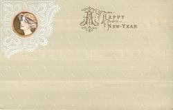 A HAPPY NEW YEAR  inset girl's head in lace upper left,decorated buff background