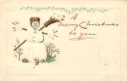 A MERRY CHRISTMAS TO YOU smiling snowman, left, with broom