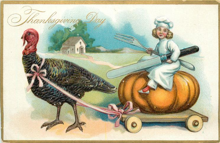 boy sits on large pumpkin on  cart which is towed by a large turkey, path to house behind