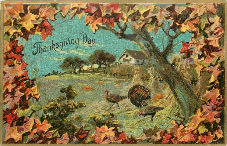 autumn scene, three turkeys in field, large tree trunk to right, house with trees and fence behind