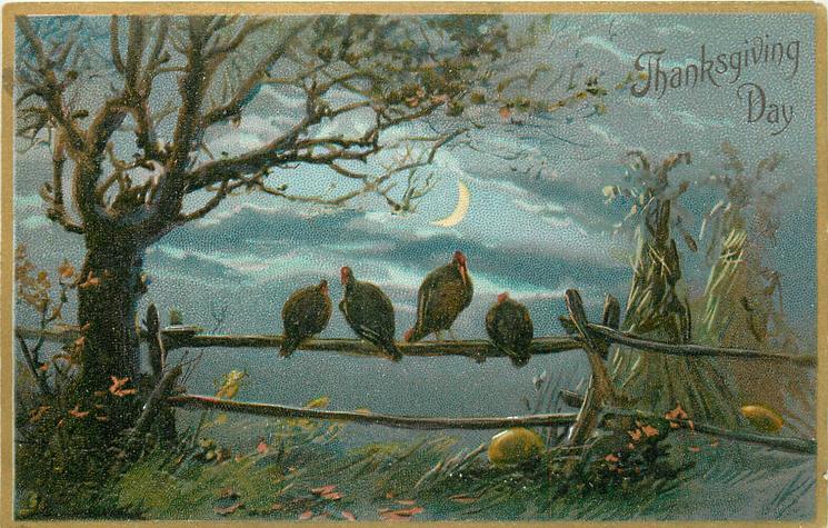 night scene, four turkeys sit on fence, tree left, moon behind,  corn shocks at right