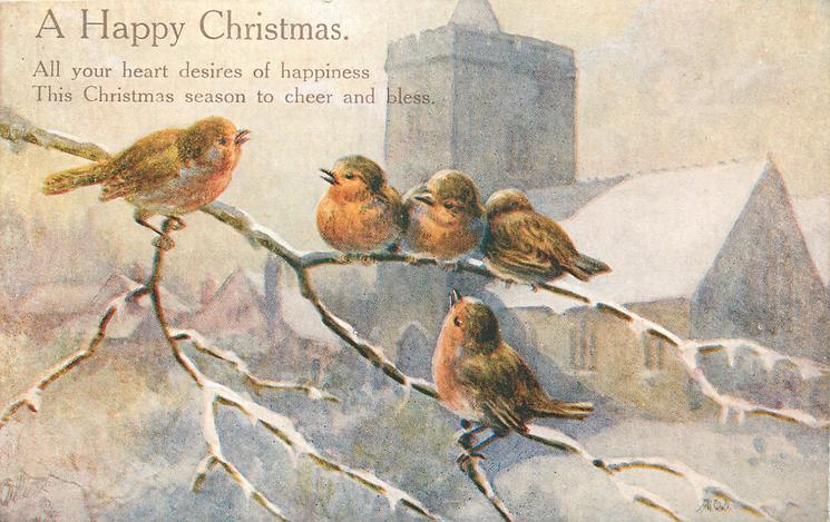 A HAPPY CHRISTMAS  five robins on branch before snowy church