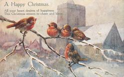 A HAPPY CHRISTMAS  five robins on brach before snowy church