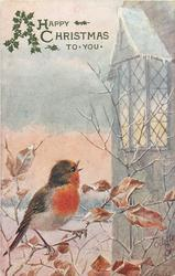 A HAPPY CHRISTMAS TO YOU  robin sits singing on branches left, house right