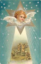 CHRISTMAS GREETINGS  angel in star above amazed shepherds