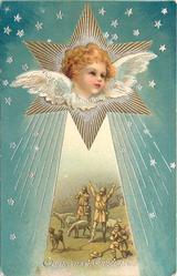 CHRISTMAS GREETINGS  angel in star above amazed shepherds