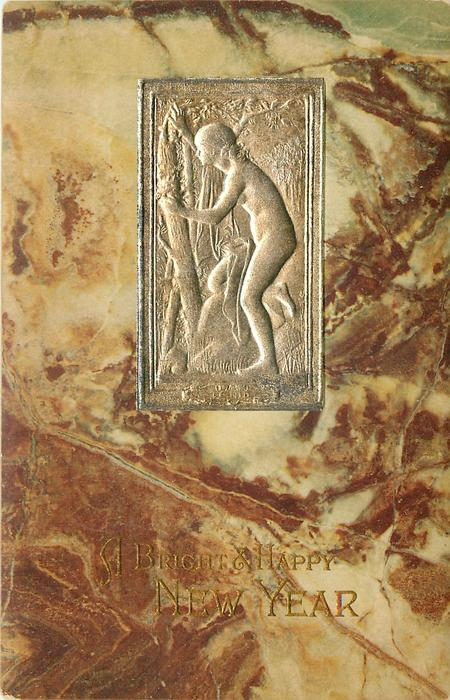 A BRIGHT & HAPPY NEW YEAR  silver inset nude study of girl in trees, marble surround (different from previous card)