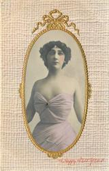 three quarter length study, she wears very revealing pink dress with ruby clasp, she looks front