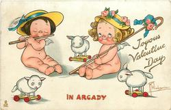 JOYOUS VALENTINE DAY, IN ARCADY  one cupid plays flute, another with shepherds crook, 3 sheep-on-wheels