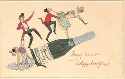 large bottle of champagne, four small people dancing over the bottle