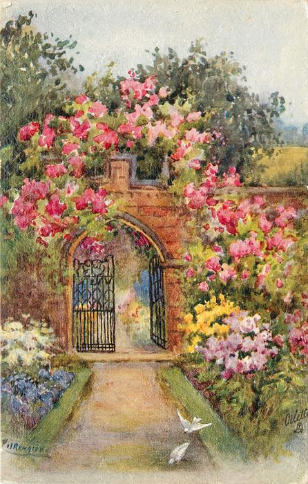 dirt path to brick wall with iron gate, right door is open, two white birds on path, many roses & other flowes