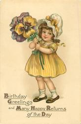 BIRTHDAY GREETINGS AND MANY HAPPY RETURNS OF THE DAY  girl with exaggerated pansies