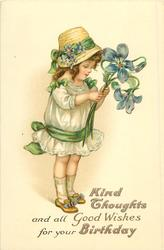 KIND THOUGHTS AND ALL GOOD WISHES FOR YOUR BIRTHDAY  girl with exaggerated blue violets