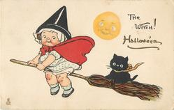 THE WITCH!  moon observes girl witch & cat flying on broomstick