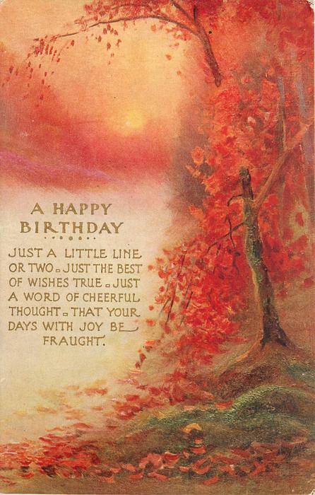 A HAPPY BIRTHDAY  with verse, mass of autumn leaves on right