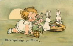 LOTS OF GOOD THINGS FOR EASTER  girl crawls & watches two rabbits with Easter eggs