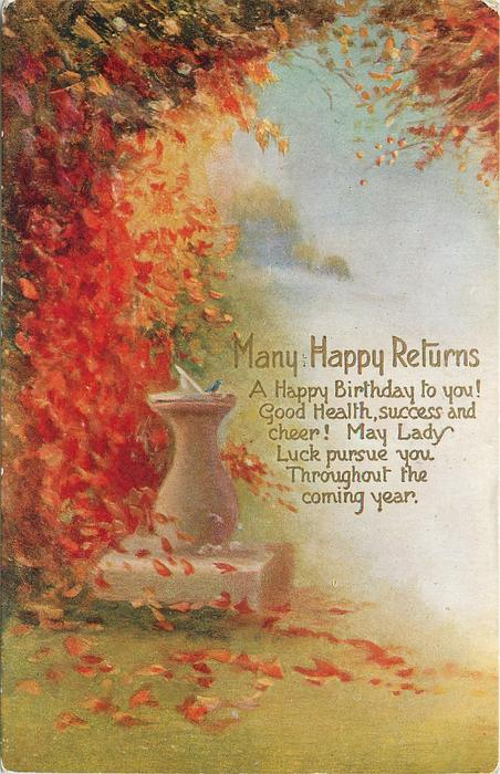 MANY HAPPY RETURNS  with verse, sundial in garden, many autumn leaves fall on left