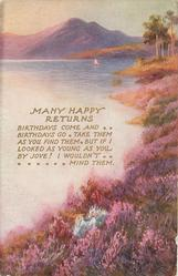 MANY HAPPY RETURNS with verse, masses of pink flowers along shore, mauve mountains in distance