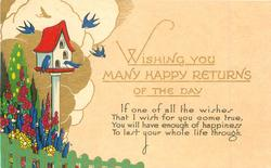 WISHING YOU MANY HAPPY RETURNS OF THE DAY bird-house & 6 blue-birds in stylized garden left
