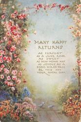 MANY HAPPY RETURNS with verse, roses climb arbor, two birds peck on ground