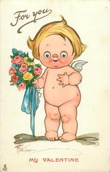 cupid stands holding bouquet of flowers