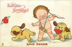 GOOD DOGGIE  cupid with two puppies, one has heart in mouth