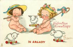 IN ARCADY  two cupids, one plays flute, one has shepherd's crook, three toy sheep