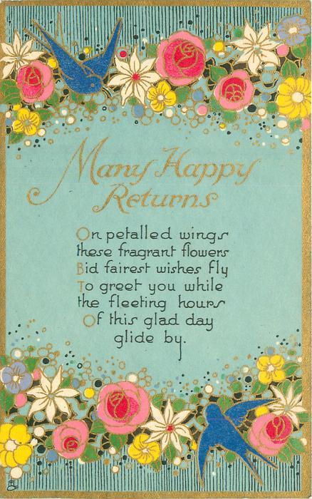 MANY HAPPY RETURNS blue-birds & stylised flowers top & bottom of card