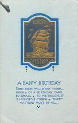 BEST WISHES  A HAPPY BIRTHDAY  BEST WISHES  sailing ship