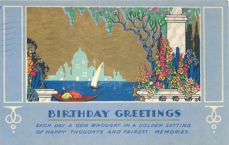 BIRTHDAY GREETINGS  gilt sky over gondola & sailboat, stylised columns & flowers right, temple silhouette on horizon
