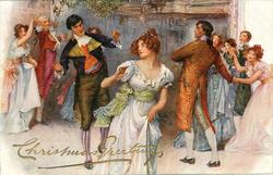 old-time Xmas dance, horizontal close-up view
