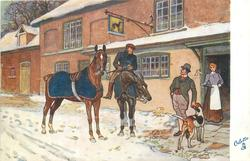 two men, one mounted, one caresses dog, and horses outside inn
