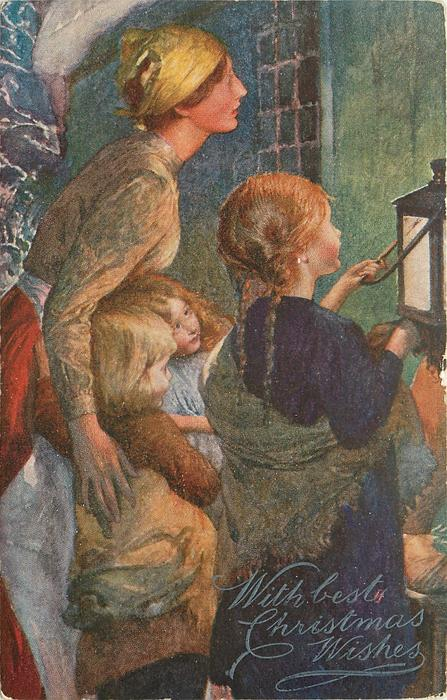 same image, close-up view of mother and children, father not in image
