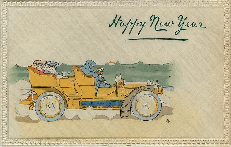 HAPPY NEW YEAR  car drives to right, cream background