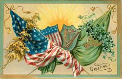 GREETING  crossed flags of USA & Ireland