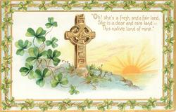 OH, SHE'S A FRESH AND A FAIR LAND, SHE IS A DEAR AND RARE LAND-THIS NATIVE LAND OF MINE'  shamrock, cross & sun
