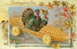 male and female turkey drive corn car with lemon wheels to right