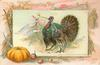 male turkey holds wishbone in beak, GOOD LUCK ribbon, pumpkin lower left