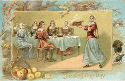 woman serves turkey to six people seated at table, basket of apples lower left