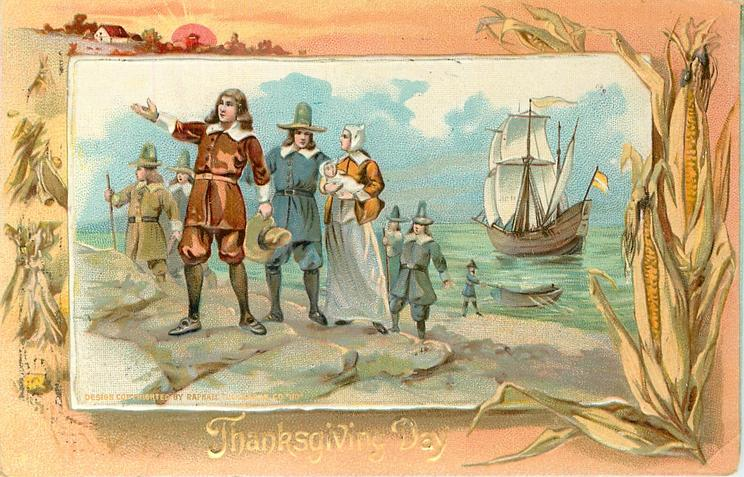 Pilgrims landing on beach, Mayflower behind in water, one man holds rowboat