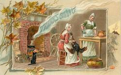 woman plucks turkey, another pours at table, black cat in front of fire, THANKSGIVING in steam