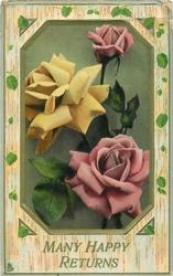 MANY HAPPY RETURNS  roses on six sided green inset