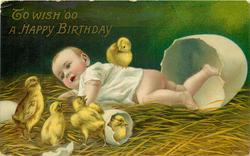 TO WISH 'OO A HAPPY BIRTHDAY  enormous egg-shell, chicks, baby