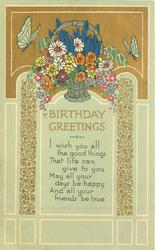 BIRTHDAY GREETINGS  butterflies & flower basket